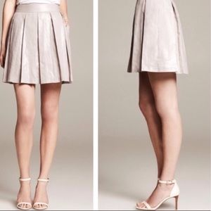 NWT BANANA REPUBLIC Silver Foil Pleated Mini Skirt